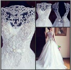 Weiß Spitze Brautkleider Abendkleid Brautjungfer Ballkleider Hochzeitskleid Prom in Kleidung & Accessoires, Hochzeit & Besondere Anlässe, Brautkleider   eBay!