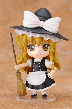 **The witch who lives in the Forest of Magic.**  From the 'Touhou Project' series by the doujin circle 'Team Shanghai Alice', comes a Nendoroid of Reimu's friend - the witch, Marisa Kirisame! All of her prominent features, from her black pointed witch's hat and contrasting white apron, to the broom she holds in her hands, have all been converted into her adorable Nendoroid form! An additional ...