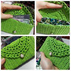 This Pin was discovered by Eff Crochet Purse Patterns, Crochet Motif, Crochet Designs, Crochet Stitches, Knit Crochet, Crochet Phone Cases, Crochet Pouch, Crochet Handbags, Crochet Purses