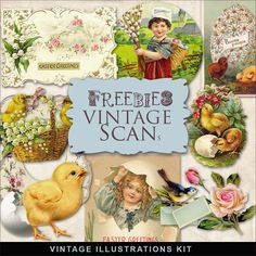 Freebies Vintage Easter Cards:Far Far Hill - Free database of digital illustrations and papers