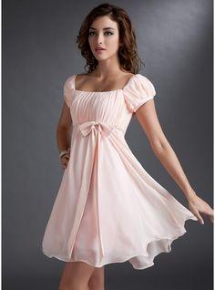 Empire Square Neckline Short/Mini Chiffon Satin Homecoming Dress With Ruffle Beading Sequins Bow(s)