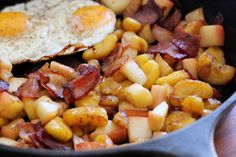 Plantain Apple Bacon Hash with Fried Eggs - Paleo, Whole30