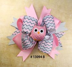 Pink Owl with Grey and Pink ZigZag RIbbon 5 by GigisBowsAndMore, $11.50