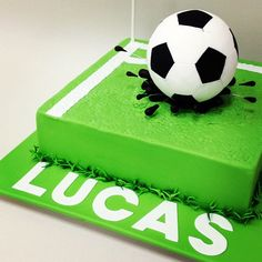 """Lucas' soccer ball birthday cake certainly made a """"splash""""! Made by Sweet by Nature, Melbourne, Australia Soccer Ball Cake, Soccer Party, Soccer Cakes, Football Themed Cakes, Sports Themed Cakes, Buy Cake Online, Order Cakes Online, Soccer Birthday Cakes, Ball Birthday"""