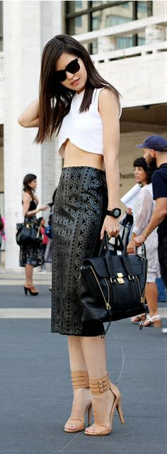 BW, Cropped top  Laser cut leather pencil skirt - Spring Chic