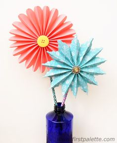 Accordion Paper Flowers craft. FirstPalette.com has a great collection of free kids' crafts, art activities, and printables designed to nurture creativity and the love for learning. There are dozens more categories of projects to explore on this site, classified by age, type of project, season, and more.