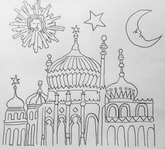 Brighton Pavilion ink drawing by Lizzie Reakes Sketchbook Ideas, Pavilion, Brighton, Graffiti, Shades, Ink, Canvas, Drawings, Illustration