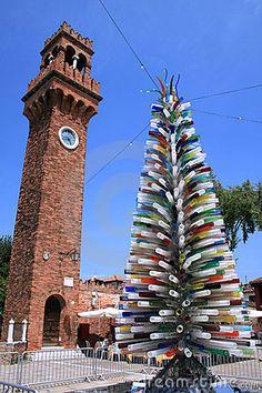 Modern Art! Colorful glass tree in Murano Island in Venice, Italy