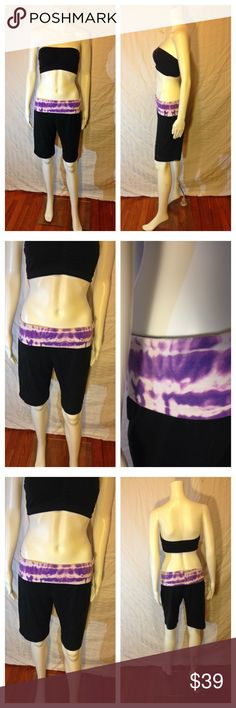 Super Cute Fold Over Tie Dye Yoga Capris These are freakin' cute and fabulous! The Girls Fold Over waist band yoga capris in black with hues of purple and white waist band. Worn a couple of times. Super comfy! Lululemon-like feel! Great for summer! Size: Medium (true to size) The Girls Pants Capris