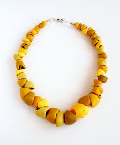 Choker made of handmade polymer clay beads, different shades of yellow