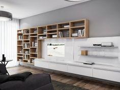 Floating bookshelf. Modern and Fresh House 18 by Azovskiy and Pahomova architects
