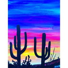 Easy Desert Sunset Saguaro's in silhouette Acrylic painting tutorial on Canvas
