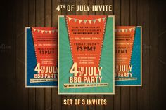 4th of July Retro BBQ Invite by @Graphicsauthor