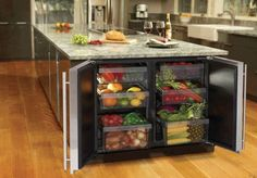 Kitchen with double under-counter refrigerators for fruit and veggies, great for juicing!