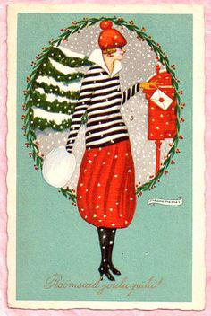 A/S NANNI BEAUTIFUL ART DECO LADY MAILS CHRISTMAS LETTER Furr Muff 1924 ITALY