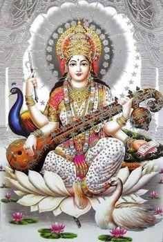 Saraswati, Hindu goddess of creativity, assisting musicians, artists, writers Jai Maa Saraswati, Saraswati Goddess, Saraswati Vandana, Hindu Kunst, Hindu Art, Durga Images, Indian Goddess, Divine Goddess, Beautiful Goddess