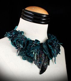 YOURS TRULY Teal Velvet Beaded Statement Bib by carlafoxdesign, $295.00