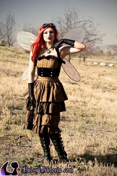 Jocelyne Watts as a Steampunk Faerie!  Costume, photo, and makeup by Daisy Viktoria