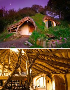An incredible underground grass-roofed hobbit house in Wales was built for just £3,000, with many of the materials scavenged from the land. Simon Dale, who had no prior experience in carpentry or architecture, created the picturesque home after growing frustrated with large mortgage payments.  http://www.beingsomewhere.net/hobbit.htm
