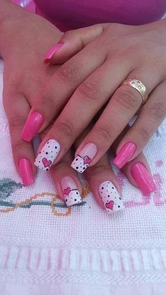 Beautiful Nail Designs To Finish Your Wardrobe – Your Beautiful Nails Toe Nail Designs, Acrylic Nail Designs, Toe Nails, Pink Nails, Valentine Nail Art, Wedding Nails Design, New Nail Art, Heart Nails, Long Acrylic Nails