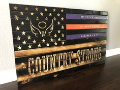Excited to share this item from my shop: Country Strong, 58 Angels, Route Survivor, Rustic Wooden Flag, American Flag Wood, American Pride, Route 91, Police Flag, Country Strong, Blue Line Flag, Wooden Flag, Wood Creations