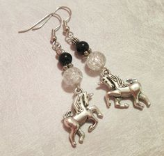 Earrings  Silver Unicorn Charms  Black and Crackle by CraftyChic90, $4.50