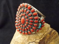 Navajo GIANT Cluster Bracelet with 68 corals & 2 Turquoise Cabochons~A Stunner! Navajo Jewelry, Ethnic Jewelry, Turquoise Jewelry, Turquoise Bracelet, Coral Turquoise, Red Coral, Braids With Beads, American Indian Jewelry, Southwestern Jewelry