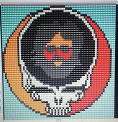 Grateful Dead Skull with Jerry Garcia (Square Grid Pattern) Pearler Bead Patterns, Bead Embroidery Patterns, Beading Patterns, Cross Stitch Patterns, Crochet Baby Blanket Sizes, Bobble Crochet, Grateful Dead Skull, Cross Stitch Music, Crochet Unicorn Pattern Free