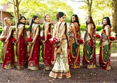 Indian bride with her beautiful bridesmaids!