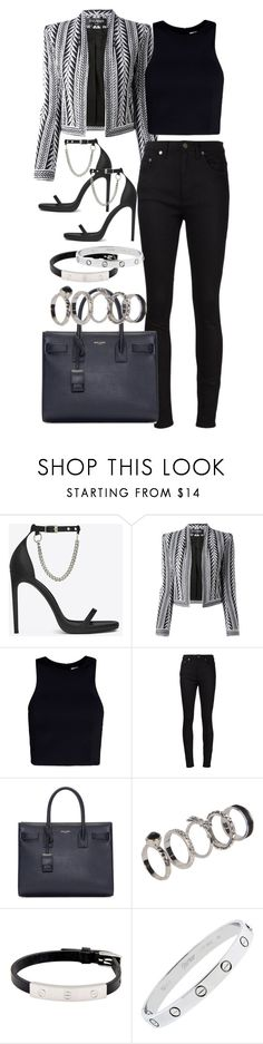 """Untitled #3538"" by plainly-marie ❤ liked on Polyvore featuring Yves Saint Laurent, Balmain, T By Alexander Wang, Boohoo and Cartier"