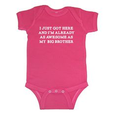 I Just Got Here - I'm Already As Awesome As My Big Brother - Baby Infant Short Sleeve Bodysuit - New Baby Gift on Etsy, $16.99