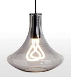 The Plume Pendant Lamp and Plumen 001 Bulb in Smoke Grey. £99 | MADE.COM