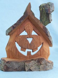 Pumpkin carved Cottonwood bark by ChipsNKnotsCreations on Etsy