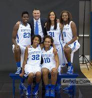 Kentucky women's basketball Coach Matthew Mitchell with the team's seniors. Standing from left, Samarie Walker, Samantha Drake and DeNesha Stallworth. Seated, Kastine Evans, left, and Bernisha Pinkett.