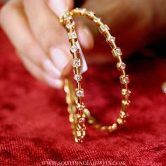 Simple Diamond Bangles From Manjula Jewels ~ South India Jewels Gold Bangles Design, Gold Jewellery Design, Indian Gold Jewellery, Indian Bangles, Egyptian Jewelry, Gold Jewelry Simple, Stylish Jewelry, Diamond Bangle, Diamond Necklace Simple