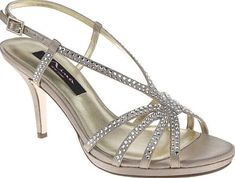 Nina Women's Shoes in Champagne Satin Color. The Bobbie is a strappy sandal with stone embellishment. The ankle strap is adjustable for comfort. #Nina #champagne #shoes #fashion #style