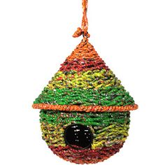 Upcycled Candy wrapper birdhouse. $24. fair trade. http://www.karrelight.com/garden--outdoor.html