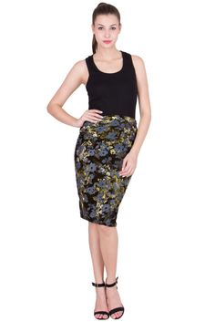 What is important in a dress is the woman who is wearing it. :) :* Sap green dazzling velvet pencil skirt only on http://ashimascouture.com