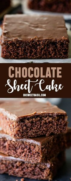My mom's chocolate sheet cake is probably the classic chocolate sheet cake recipe you grew up with, but in case you lost it, here it is along with a cooked chocolate frosting! via @ohsweetbasil