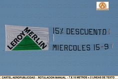 Campaña de www.aeropublicidad.es para LEROY MERLIN anunciando importantes descuentos con avionetas de PUBLICIDAD AEREA