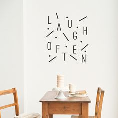 Laugh Often Wall Decal (41 CAD) ❤ liked on Polyvore featuring home, home decor, wall art, vinyl wall stickers, dot wall decals, wall tattoos, black polka dot wall decals and black wall decals