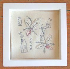 Home/House - Embroidered Wall Decoration - Rhiannon James Textiles - www.facebook.com/rhiannonjamestextiles