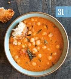 Chickpea and Roasted Tomato Soup: warm, comforting and hearty - don't forget the crusty bread.