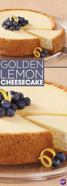 Golden Lemon Cheesecake - Learn how to bake a luscious golden lemon cheesecake that's full of sweetness and zest! This cheesecake is perfect to serve any day of the year.