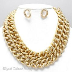 Double Row Link Chain Chunky Gold Tone Necklace Set Elegant Costume Jewelry