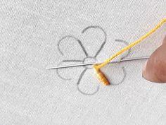 Hand embroidery Flower design | Beautiful flower design - YouTube Hand Embroidery Flower Designs, Hand Embroidery Videos, Embroidery Stitches Tutorial, Sewing Stitches, Embroidery Hoop Art, Embroidery Techniques, Ribbon Embroidery, Embroidery Patterns, Bordados E Cia