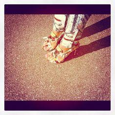 When similar prints collide. Proenza Schouler sandals and Rag & Bone Leggings.