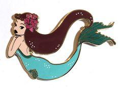 Retro inspired enamel pins.  Mermaid enamel pin, Audrey Hepburn pin, Retro pin, pin up art, mermaid pin, hard enamel pin, cute pins