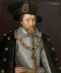 King James I of England and VI of Scotland (1566–1625)  By John de Critz the elder  Date Painted: 1609  From: Government Art Collection    This portrait depicts the King in 1609, four years after the events of the Gunpowder Plot.    Read more about James I - http://bbc.in/dr2rPj