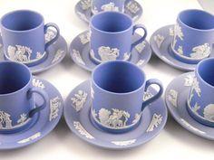 Wedgwood Jasperware Cream on Lavender Demitasse Cup & Saucer set Glazed inside 1950s. $25.00, via Etsy.